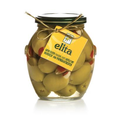 Green Olives Doublestuffed With Almond And Red Natural Pepper
