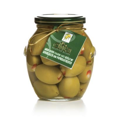 Green Olives Doublestuffed With Garlic And Red Natural Pepper