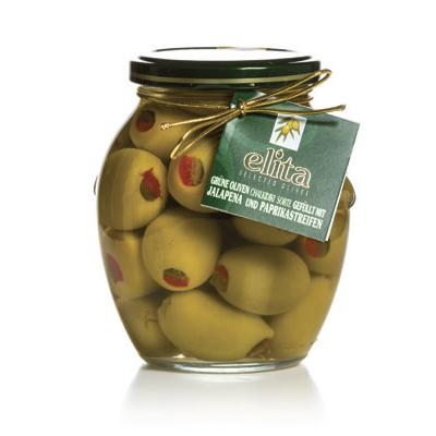 Green Olives Doublestuffed With Red Natural Pepper And Jalapeno