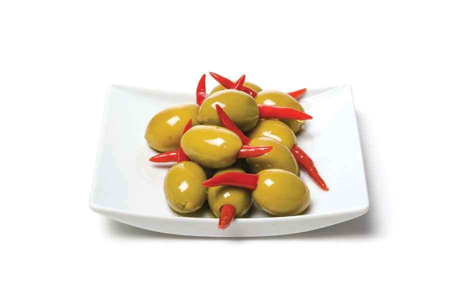 Green Olives Stuffed With Red Piri Piri Peppers